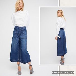 NWT Free People Dawn To Dusk Cropped Wide Leg Jean